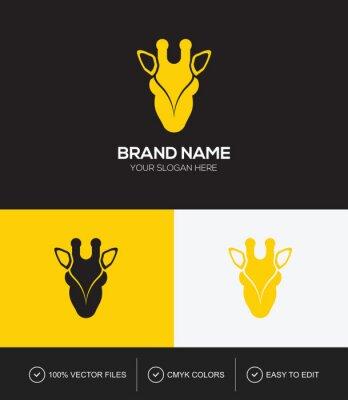 Giraffe head logo design vector