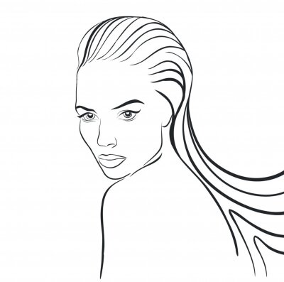 Girl Continuous Contour Line Vector Drawing, spa, t-shirt, nails
