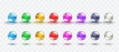Glass ball set isolated on transparent background. Realistic gold and colorful orbs, oil collagen, 3d gel spheres. Vector water bubbles or round pills with shadows