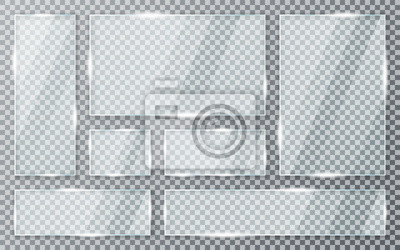 Naklejka Glass plates set on transparent background. Acrylic and glass texture with glares and light. Realistic transparent glass window in rectangle frame