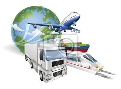 Globalna koncepcja logistyki pociąg samolot statek truck