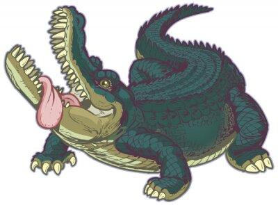 Naklejka Głodny Cartoon Alligator z wywieszonym językiem