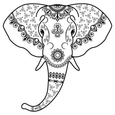 Naklejka Głowica Czarno-biały słoń w Mehndi Indian style.Vector ilustracji na białym tle