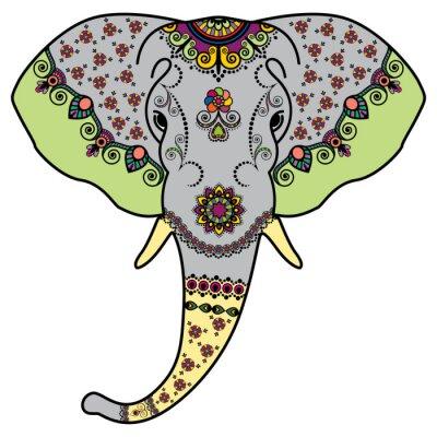 Naklejka Głowica kolorowa słonia w stylu Mehndi Indyjskim. Ilustracja wektora samodzielnie na białym tle