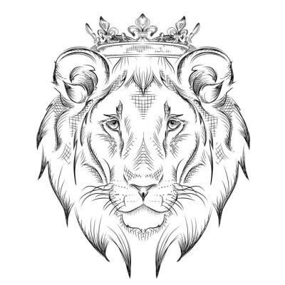 Naklejka Głowica rysowanie Ethnic ręka lew w koronie. Konstrukcja totem / tatuaż. Użyj do druku, plakaty, koszulki. ilustracji wektorowych