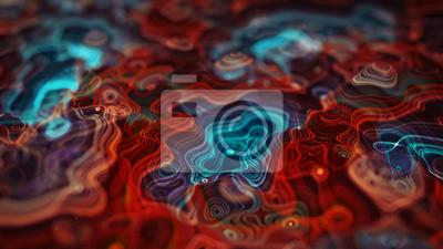 Naklejka Glowing topographic map 3D rendering illustration