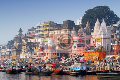 Naklejka Głównym Ghat w Varanasi Indiach