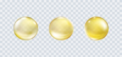 Gold bubble set isolated on transparent background. Cosmetic vitamin capsule or oil pill. Golden glass balls template. Vector 3d serum collagen essence..