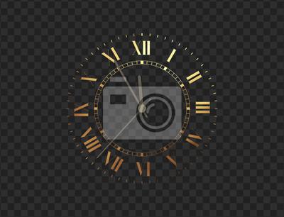 Naklejka Gold clock, five minutes to midnight