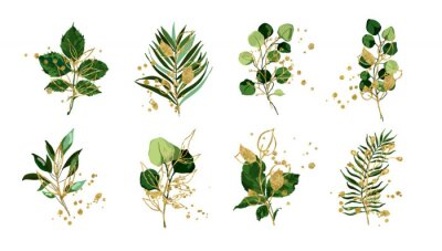 Naklejka Gold green tropical leaves wedding bouquet with golden splatters isolated on white background. Floral foliage vector illustration arrangement in watercolor style. Botanical art design