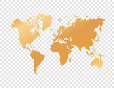 gold map of world on transparent background