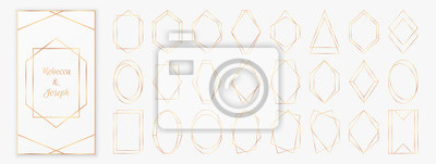 Naklejka Gold polygonal frames collection isolated on light grey background.