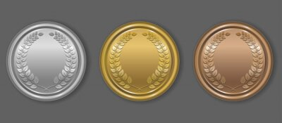 Naklejka Gold, silver and bronze award medals with laurel wreath. Blank medals set. Blank of coins. Vector illustration.