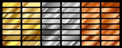 Naklejka Gold, silver, bronze and golden foil texture gradation background set. Vector shiny hologram and metalic gradient collection for border, frame, ribbon, label design. Vector illustration