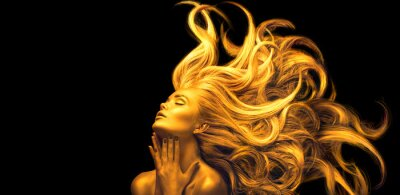 Naklejka Gold Woman. Beauty fashion model girl with Golden make up, Long hair on black background. Gold glowing skin and fluttering hair. Metallic, glance Fashion art portrait, Hairstyle. Fashion art design