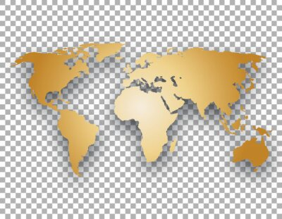 Naklejka gold world map with shadow on transparent background