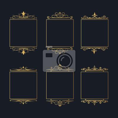 Naklejka Golden filigree ornate frames set for invitation card design. Hand drawn vintage elegant wedding gold borders. Vector isolated antique ornament.