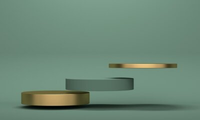 Golden flying podium on green background with copy space. 3d rendering