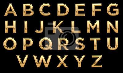 Golden font, all letters. Latin, english alphabet. 3d render, gold metal texture, on black background.
