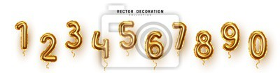 Naklejka Golden Number Balloons 0 to 9. Foil and latex balloons. Helium ballons. Party, birthday, celebrate anniversary and wedding. Realistic design elements. Festive set isolated. vector illustration