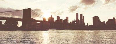 Naklejka Golden Sunset Over Manhattan Skyline, NYC, USA