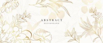Naklejka Golden Wild Flowers line art background vector. Luxury abstract art background with artificial flowers, Gold leaves, eucalyptus, trending hydrangea and summer blooms. Botanical wedding wallpaper.