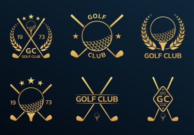 Naklejka Golf club logo, badge or icon set with crossed golf clubs and ball on tee. Vector illustration.