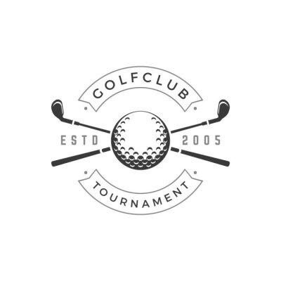 Naklejka Golf club tournament vector logo crossed black golfing brassy symbol of sports competition