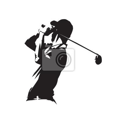 Golf ikonę odtwarzacza, golfista abstrakcyjna wektora sylweta