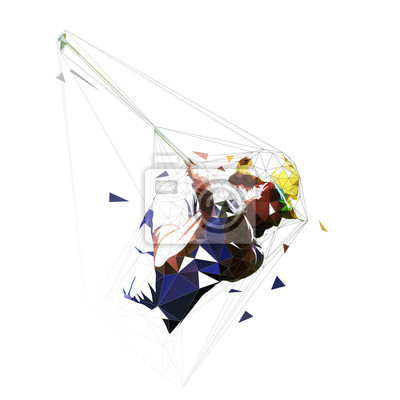 Golf player, abstract isolated low poly vector illustration. Golf swing logo