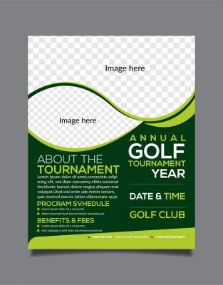 Naklejka Golf Tournament Flyer Design Template