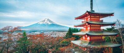 Naklejka Góra Fuji, Chureito Pagoda jesienią