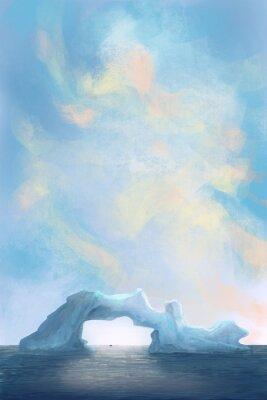 góra lodowa, lodowa na morzu / ilustracja malowanie