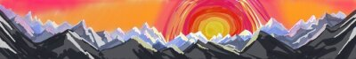 Naklejka góra wschodu lub zachodu słońca, cyfrowe streszczenie sztuki malowania chropowaty pasmo górskie z ogromnym kolorowe słońce czy rośnie, strony nagłówka lub stopki