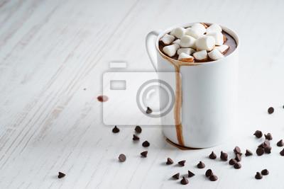 Naklejka gorąca czekolada z mini marshmallows