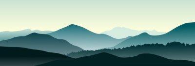 Naklejka Górski krajobraz w letni poranek. Poziome ilustracji wektorowych.