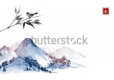 Naklejka Góry i mały ptak na bambusowej gałąź. Hieroglif - wieczność. Tradycyjne orientalne malarstwo tuszem sumi-e, u-sin, go-hua.