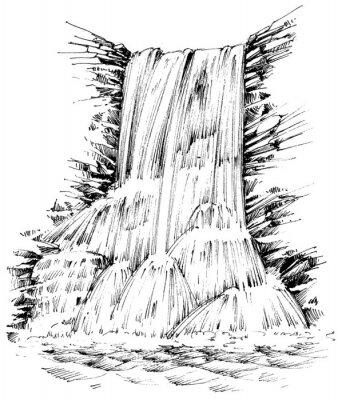 Naklejka Góry wodospadu graficzną ilustrację