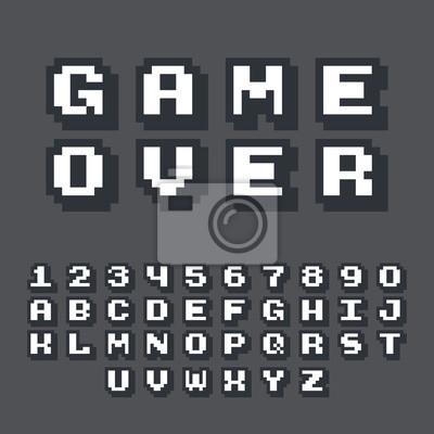 Naklejka Gra 3D pikseli wideo 8-bitowa czcionka. Plakat czcionki z efektem cienia 3D. Zestaw retro stylu łacińskim litery i cyfry. Czcionki ilustracji wektorowych.