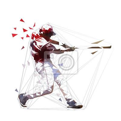 Gracz baseballa w czerwonej koszulce huśta się z nietoperzem, odosobniona poligonalna wektorowa ilustracja