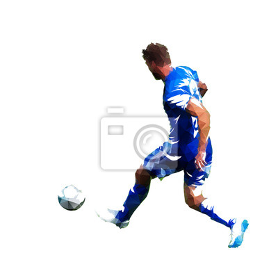 Gracz futbolu w błękitnej dżersejowej pije piłce, abstrakcjonistyczny niski poli- wektorowy rysunek. Piłkarz kopiąc piłkę. Odosobniona geometryczna kolorowa ilustracja, tylni widok