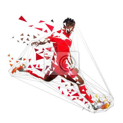 Gracz futbolu w czerwonej dżersejowej kopanie piłce, abstrakcjonistyczny niski poli- wektorowy rysunek. Gracz piłki nożnej, odosobniona geometryczna kolorowa ilustracja, boczny widok