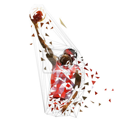Gracz koszykówki mknąca piłka, niska poli- wektorowa ilustracja. Strzał z rolki