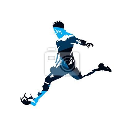 Gracz piłki nożnej kopie piłkę, abstrakcjonistyczna błękitna wektorowa sylwetka, boczny widok