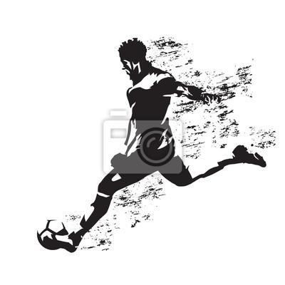 Gracz piłki nożnej kopie piłkę, abstrakcjonistyczna grungy wektorowa sylwetka
