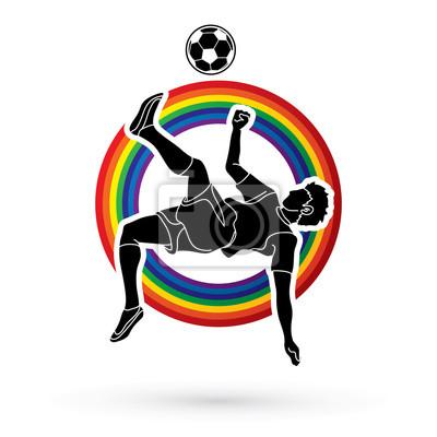 Gracz piłki nożnej salta kopnięcie, zasięrzutna kopnięcie akcja projektująca na kreskowym tęczy tła grafiki wektorze