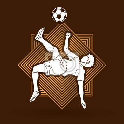 Gracz piłki nożnej salta kopnięcie, zasięrzutna kopnięcie akcja projektująca na linii kwadrata tła grafiki wektorze