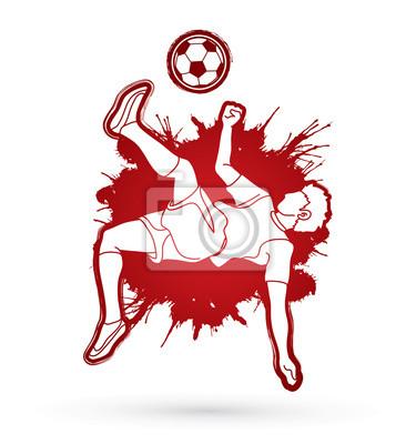 Gracz piłki nożnej salta kopnięcie, zasięrzutna kopnięcie akcja projektująca na splatter koloru tła grafiki wektorze