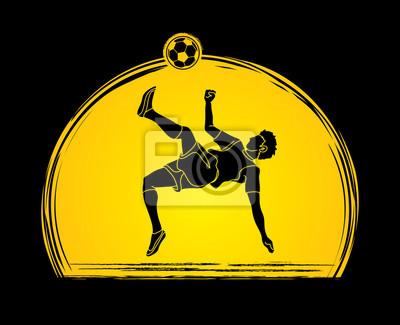 Gracz piłki nożnej salta kopnięcie, zasięrzutna kopnięcie akcja projektująca na zmierzchu tła grafiki wektorze