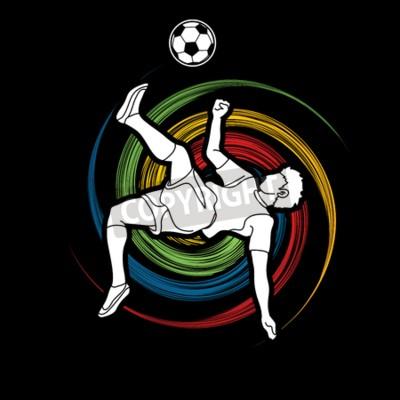 Gracz piłki nożnej salto kopnięcie, zasięrzutna kopnięcie akcja projektująca na spinowym koła grafiki wektorze